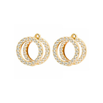 Floating Double O Stud Earrings - Gold