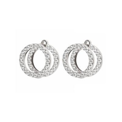 Floating Double O Stud Earrings - Silver