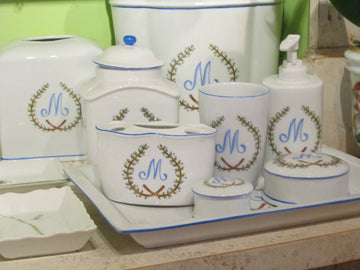 Monogrammed Porcelain Bathroom Accessories
