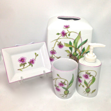 Pink Orchid Porcelain Bathroom Accessories - Handmade / Handpainted