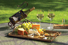 Rattan & Glass Rectangular Serving Tray - 2 Sizes