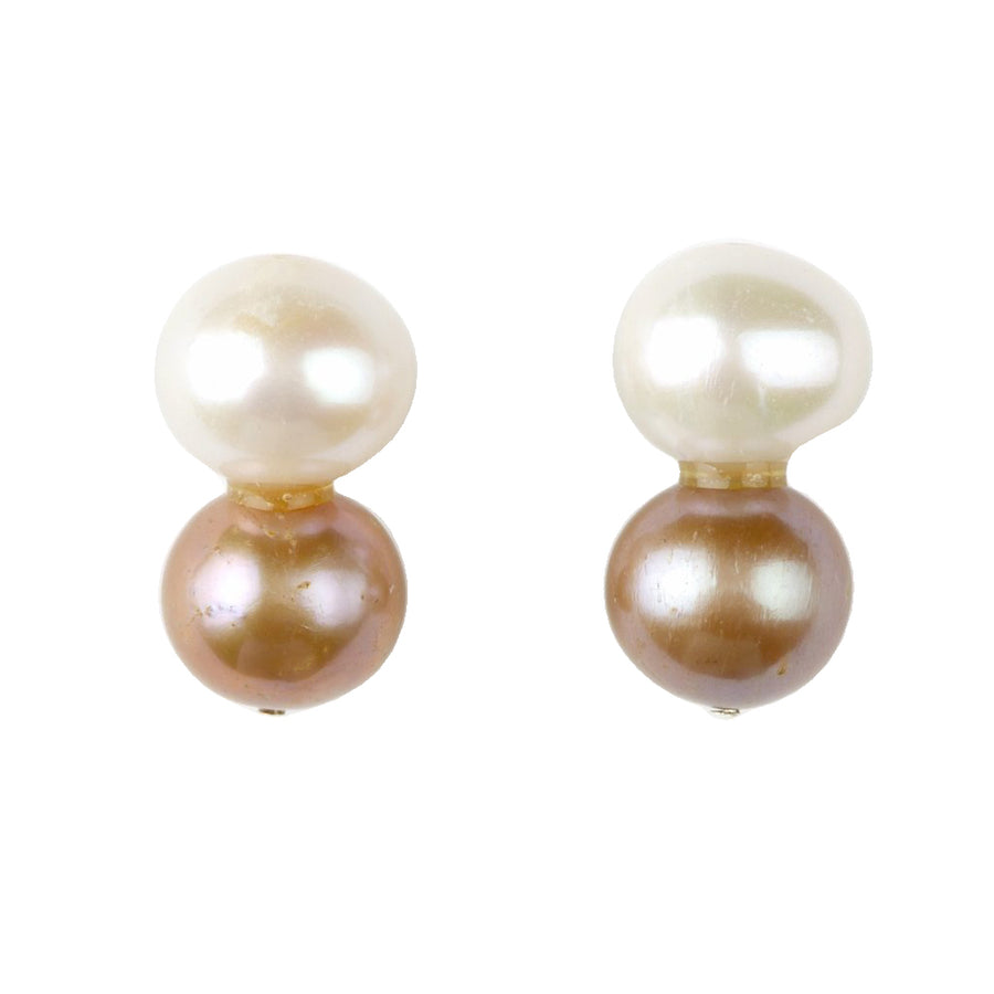BIG PEARL, LITTLE CHAMPAGNE PEARL STUDS BY MEG CARTER