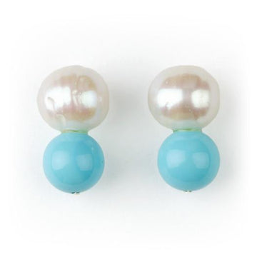BIG PEARL, LITTLE TURQUOISE STUDS BY MEG CARTER