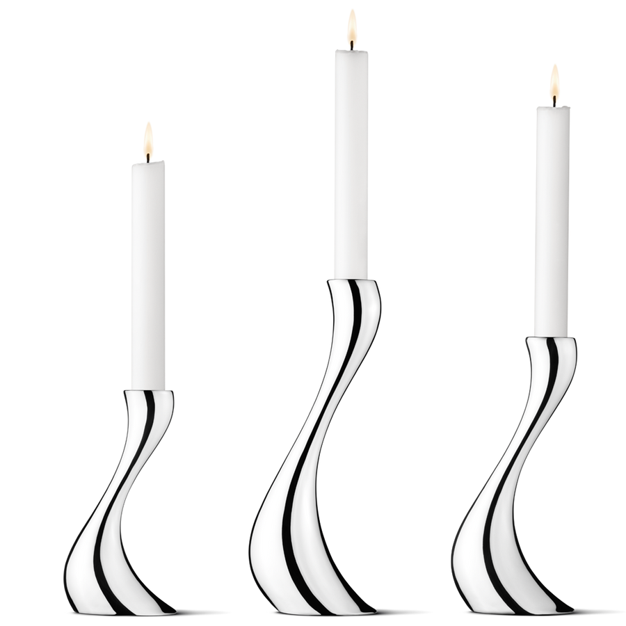 COBRA SILVER CANDLESTICKS - SET OF 3