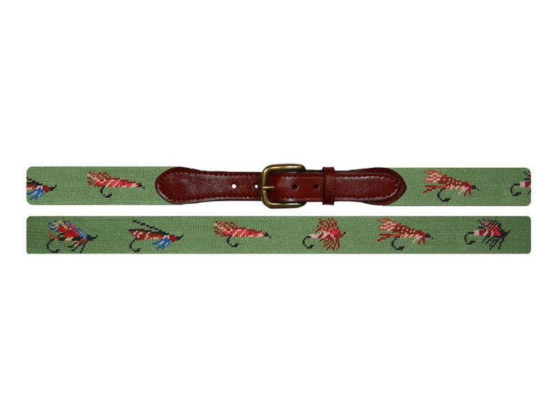 Needlepoint Belt - Fishing Flies