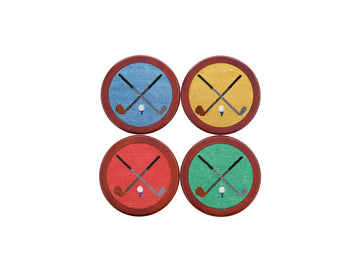 Needlepoint Coaster Set - Golf Club
