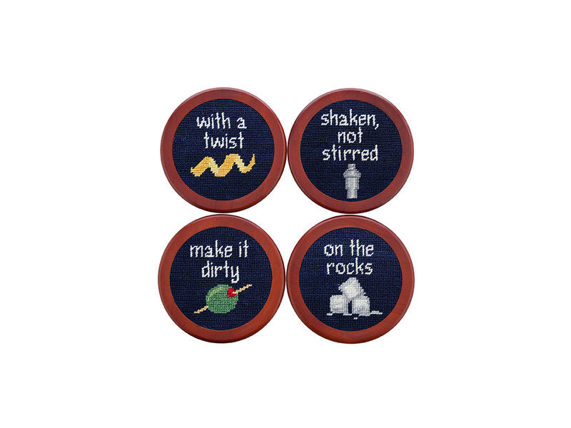 Needlepoint Coaster Set - Cocktail Orders