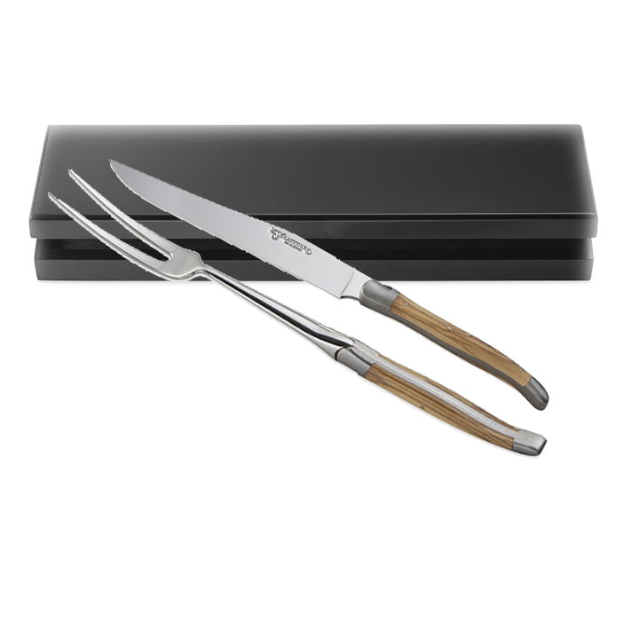 Laguiole Serving Set - 2 pc. Olive wood and Stainless Steel