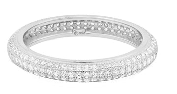 Triple Row Pave Eternity Ring - Silver