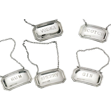 MADE EXPRESSLY FOR A MANO- SILVER PLATED LIQUOR TAGS