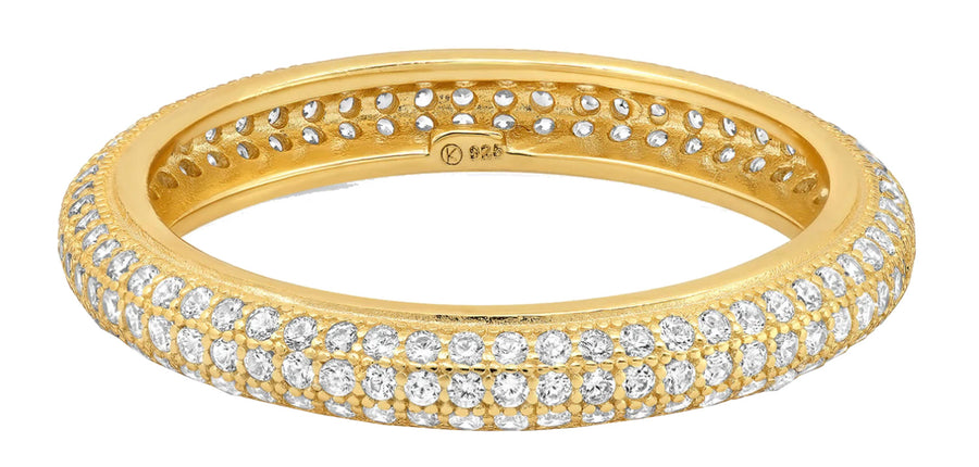 Triple Row Pave Eternity Ring - Gold
