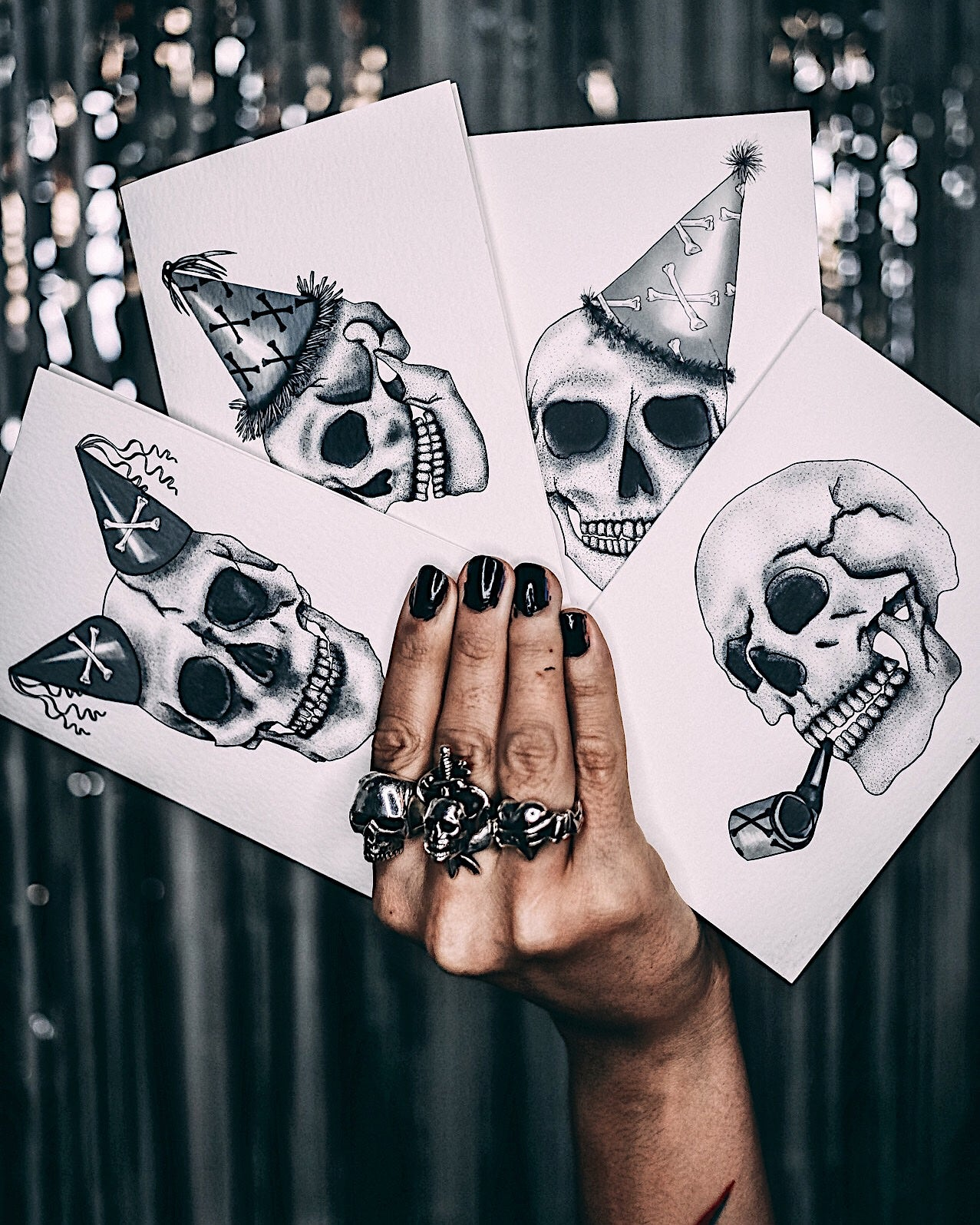 Skull with Double Party Hat - Gothic Birthday Card