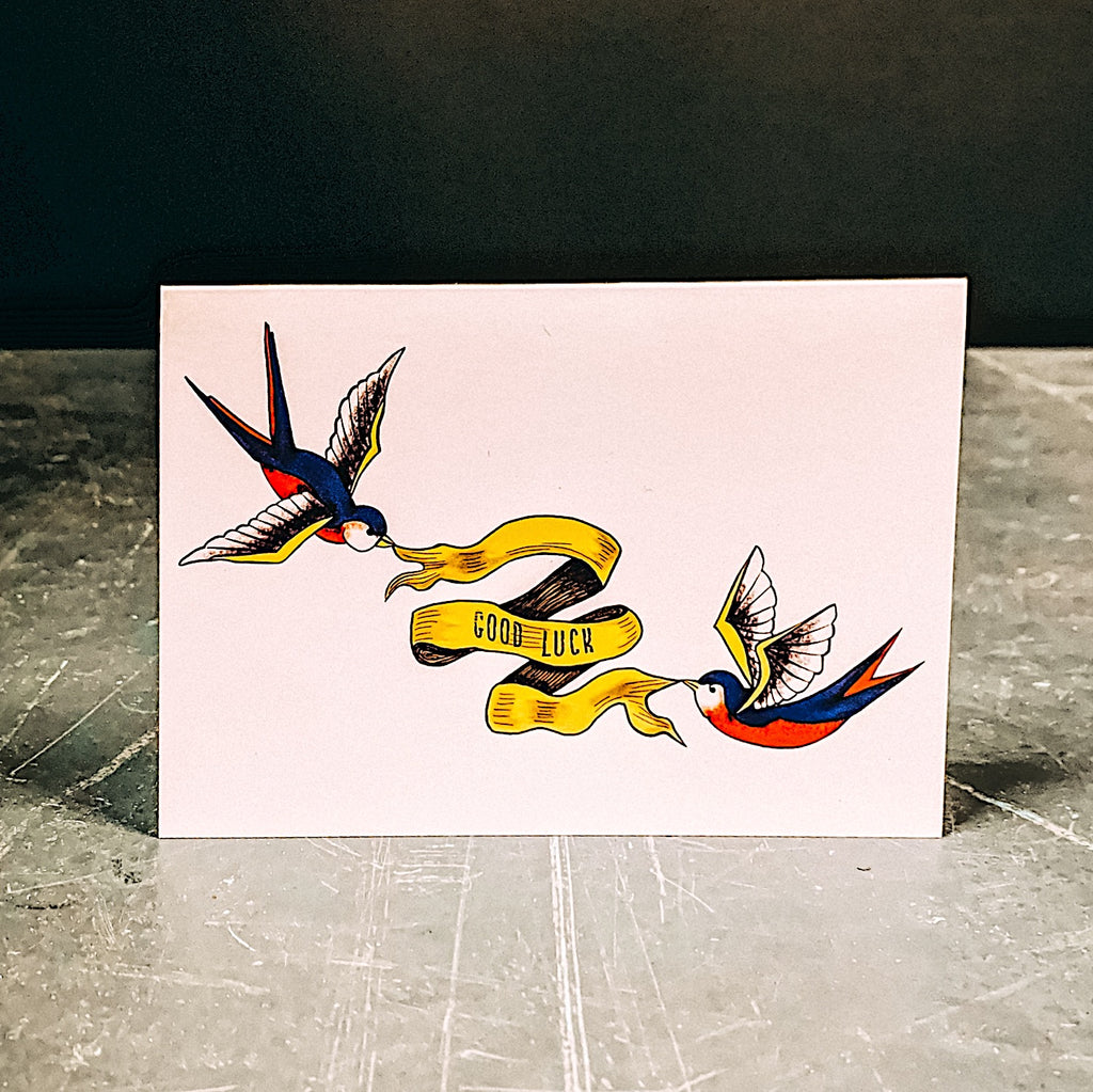 Good Luck Swallow Tattoo Style Greetings Card