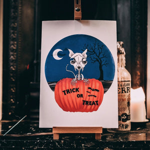 Trick or Treat Skeleton Cat Print