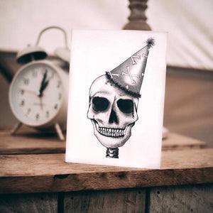 Tattoo style black and white skull birthday card