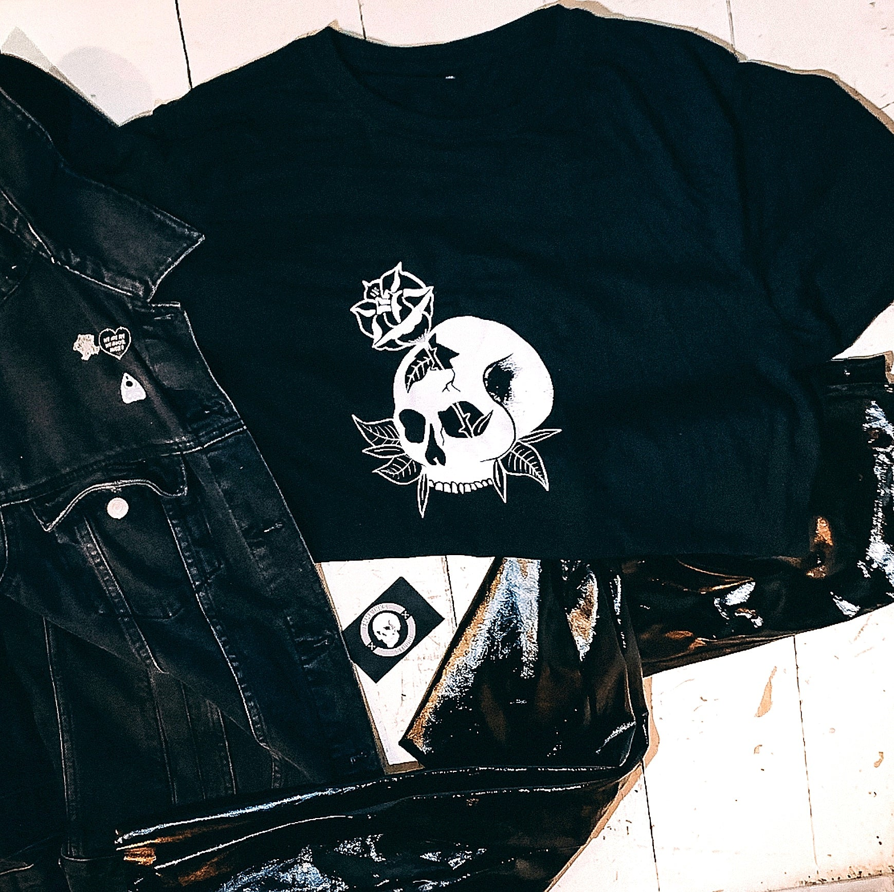 Skull with Rose Front - Hand Screen Printed T-shirt
