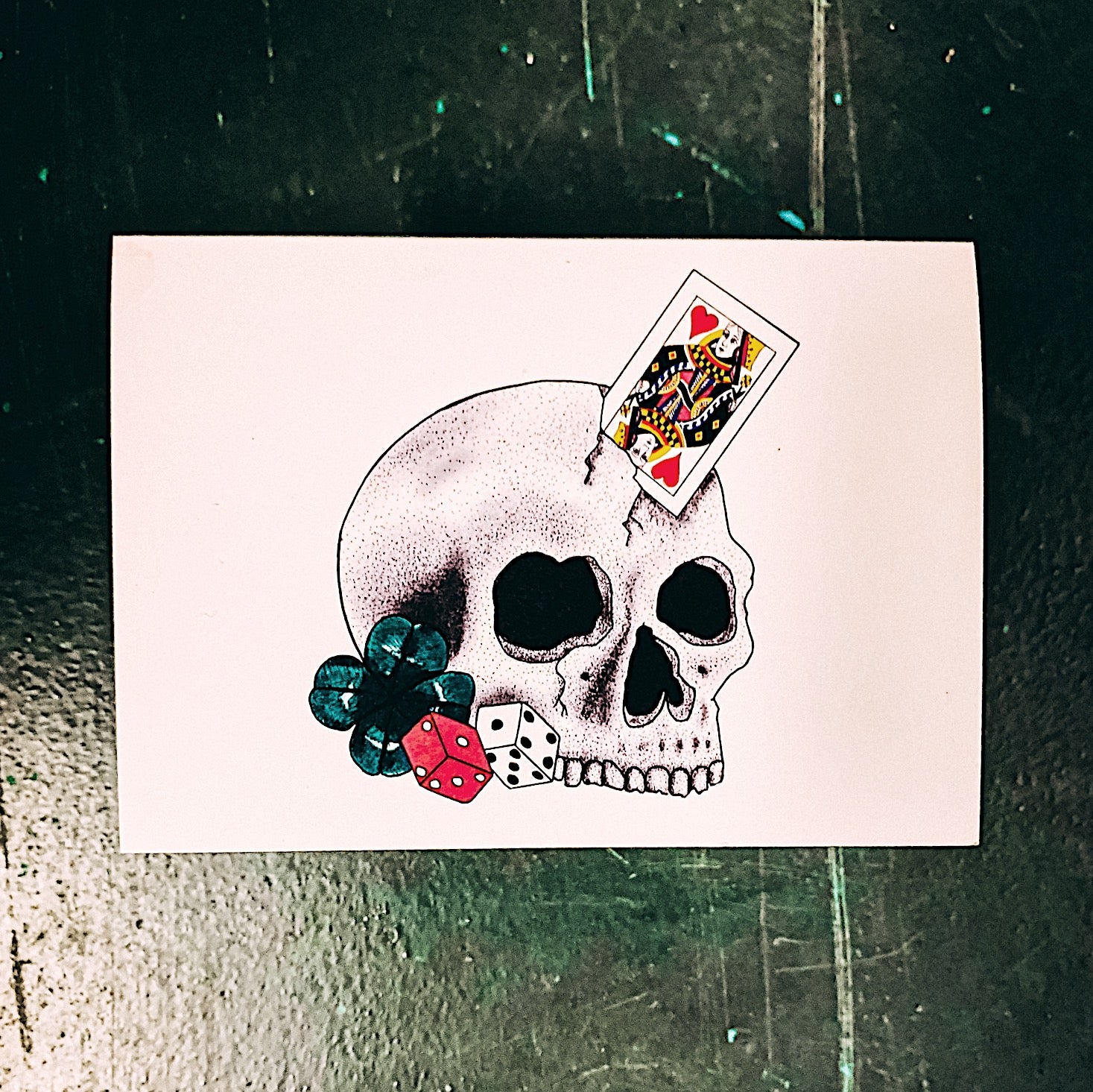 Good Luck Skull Tattoo Style Greetings Card