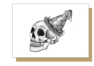 Skull with Crossbones Party Hat - Gothic Birthday Card