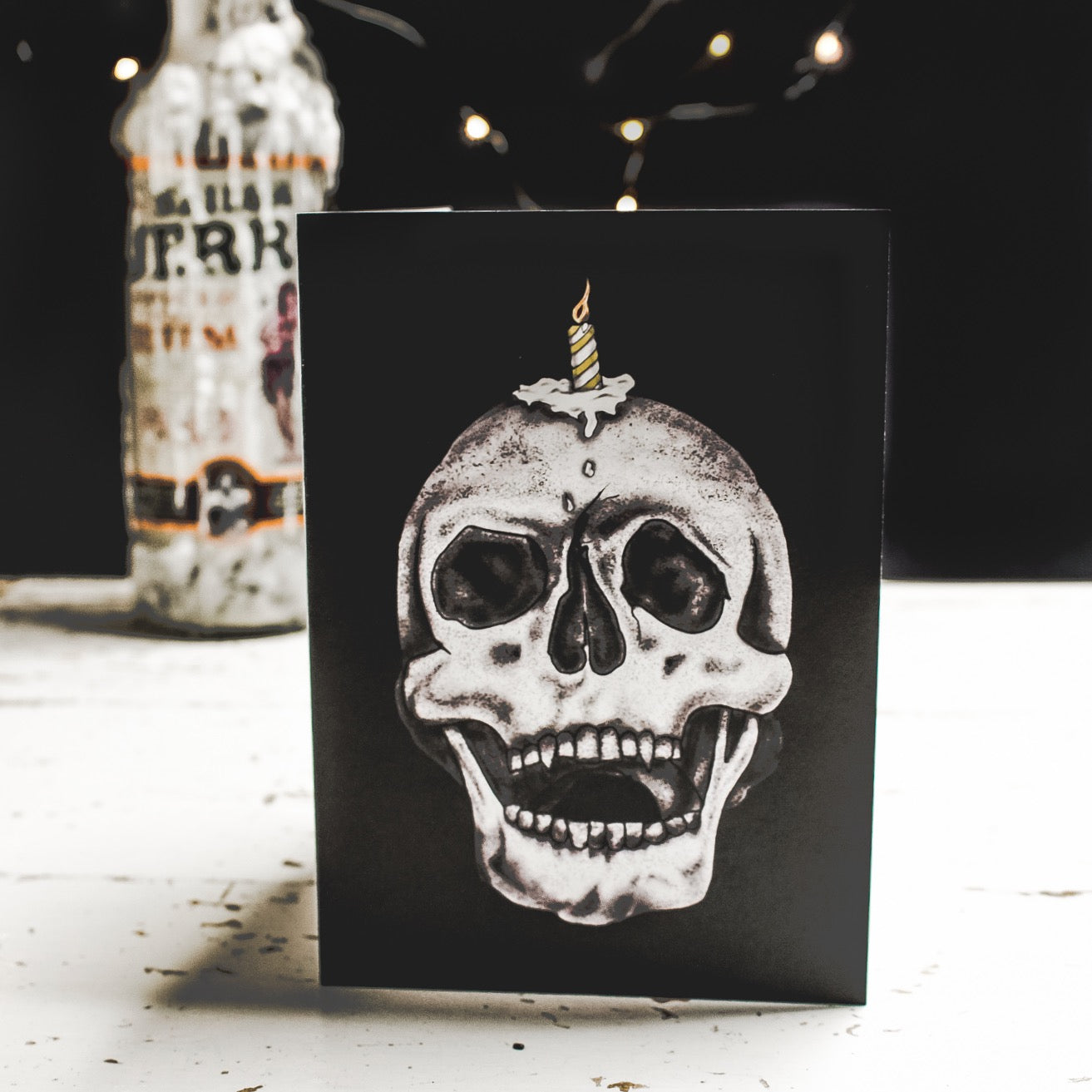 Black Birthday Card With Skull Illustration with melting candle on its head by Wayward