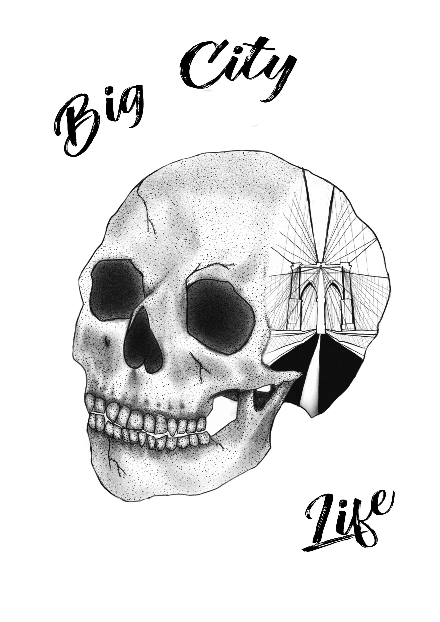 Brooklyn Skull Drawing Art Print