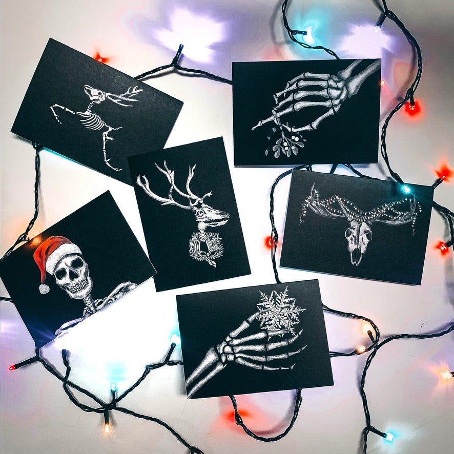 Set of 6 Black Alternative Christmas Cards