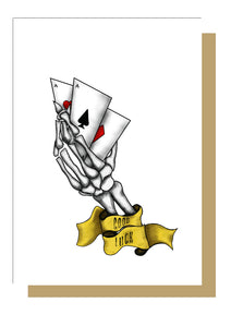 Good Luck Skeleton Hand Tattoo Style Greetings Card