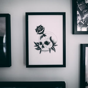 Skull With Tattoo Inspired Rose Print