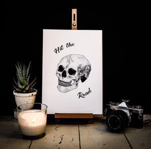 Hit The Road Skull Travel Print