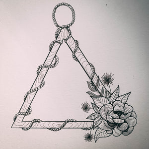 Decorative Wooden Triangle and Flower - A5 Sketchbook Print
