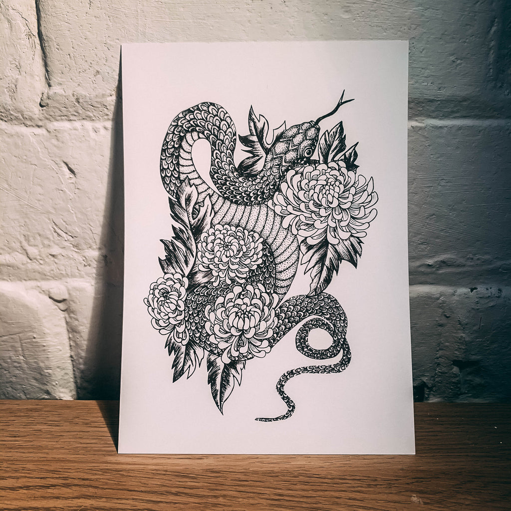 Snake and Flower A5 Sketchbook Print