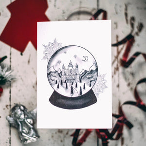 A6 Greetings Card with snowglobe illustration by Wayward