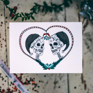 Skull Christmas Kiss Alternative Christmas Card