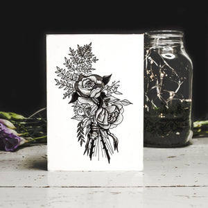Tattoo Flower Blank Greetings Card Emma Inks Studio