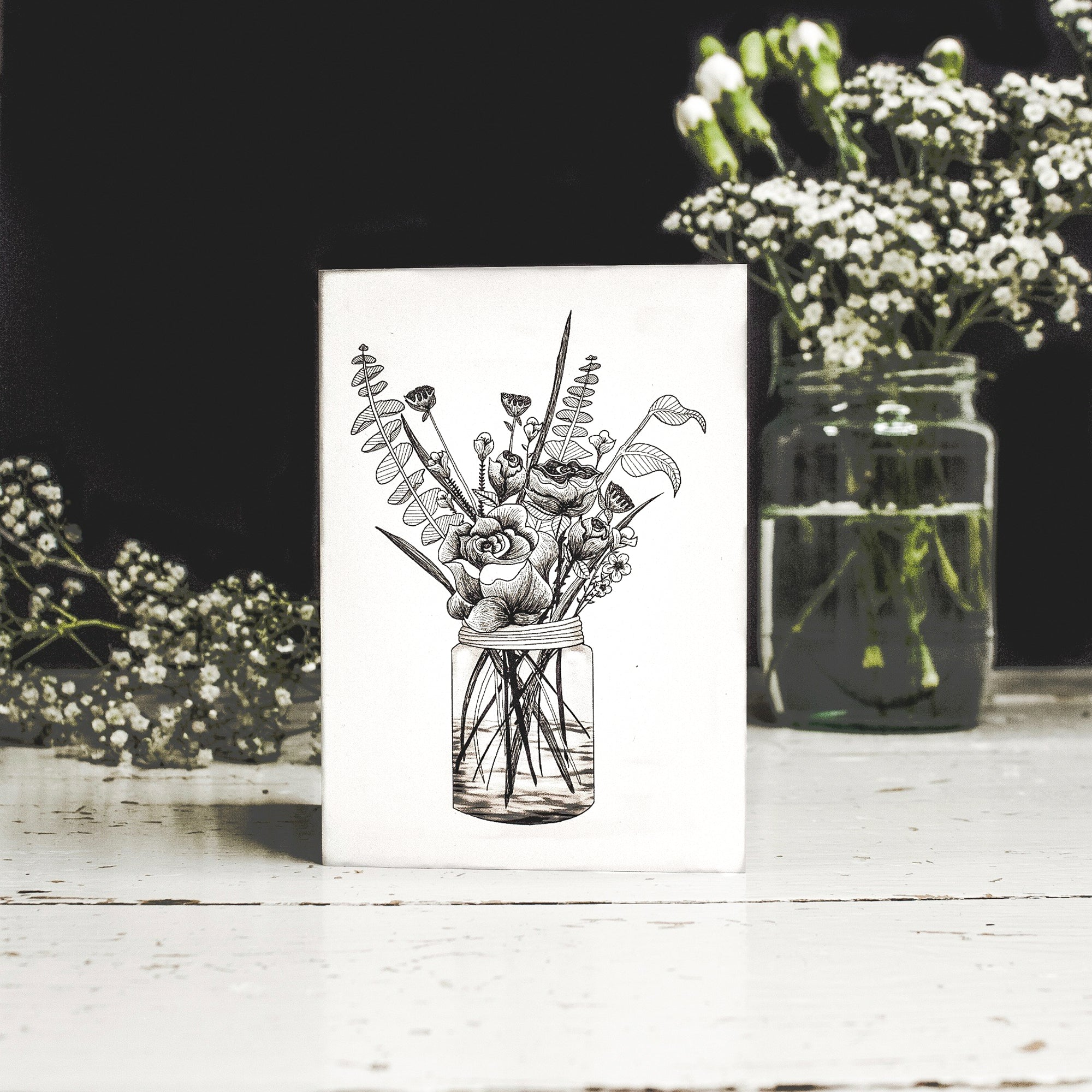 Flowers In Jar Tattoo Inspired Card