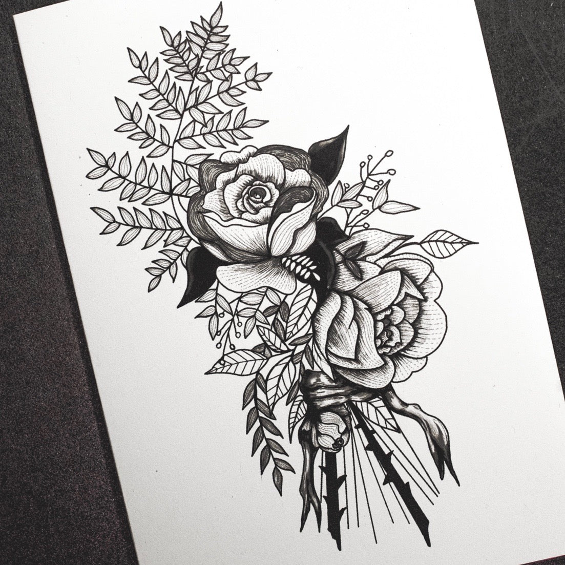 Flower Illustration Tattoo Inspired Greetings Card