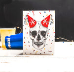 Funny Gothic Birthday Card With Skull and Party Hats