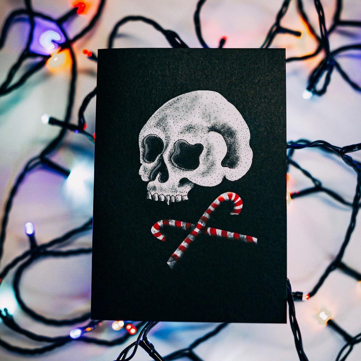 Skull and Cross Candy Gothic Christmas Card