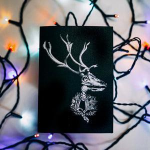 Reindeer With Wreath Gothic Christmas Card