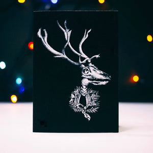 Reindeer With Wreath Black Christmas Card
