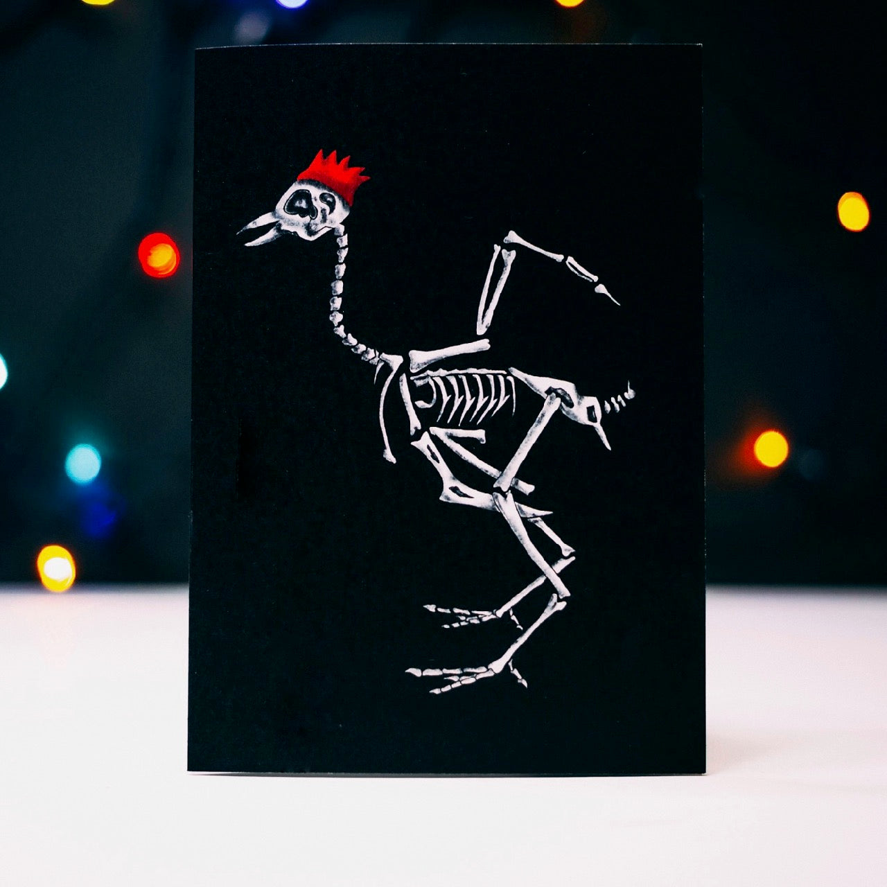 Turkey Skeleton Black Christmas Card
