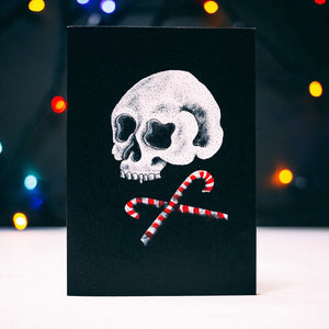 Skull and Cross Candy Alternative Black Christmas Card
