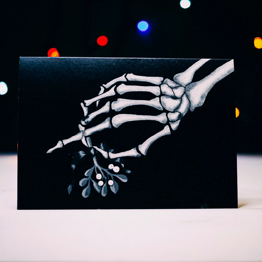 Skeleton Hand With Mistletoe Gothic Christmas Card