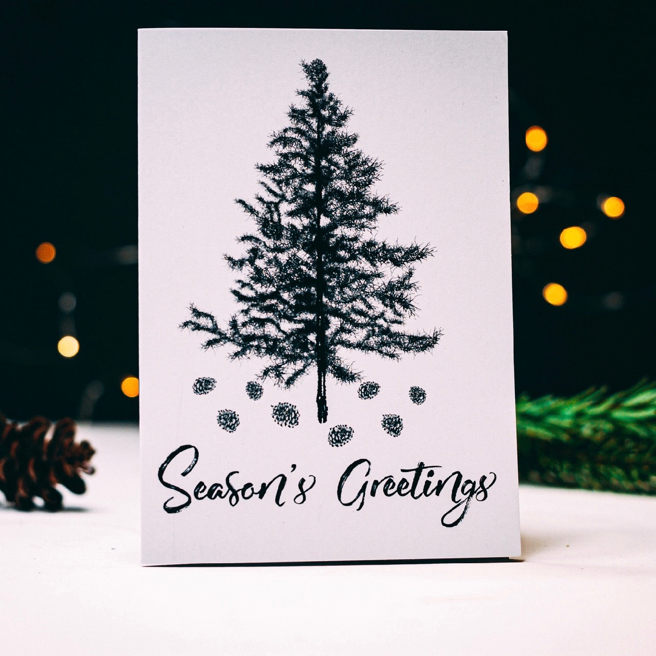 Hand Illustrated Christmas Tree Seasons Greetings Card
