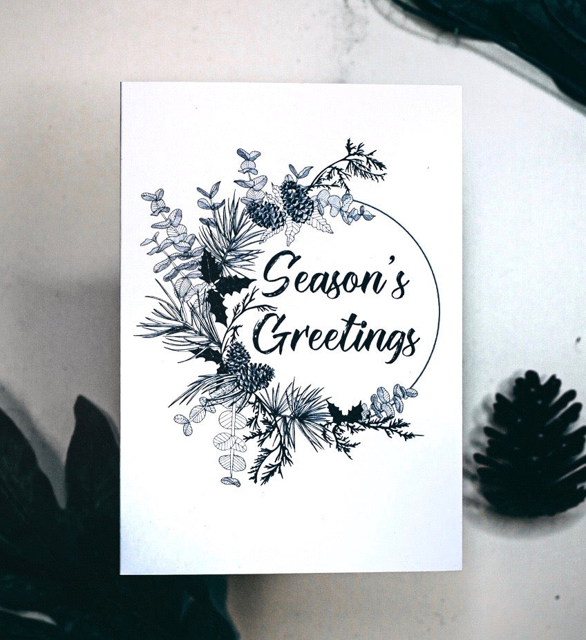 Seasons Greetings Modern Wreath Christmas Card