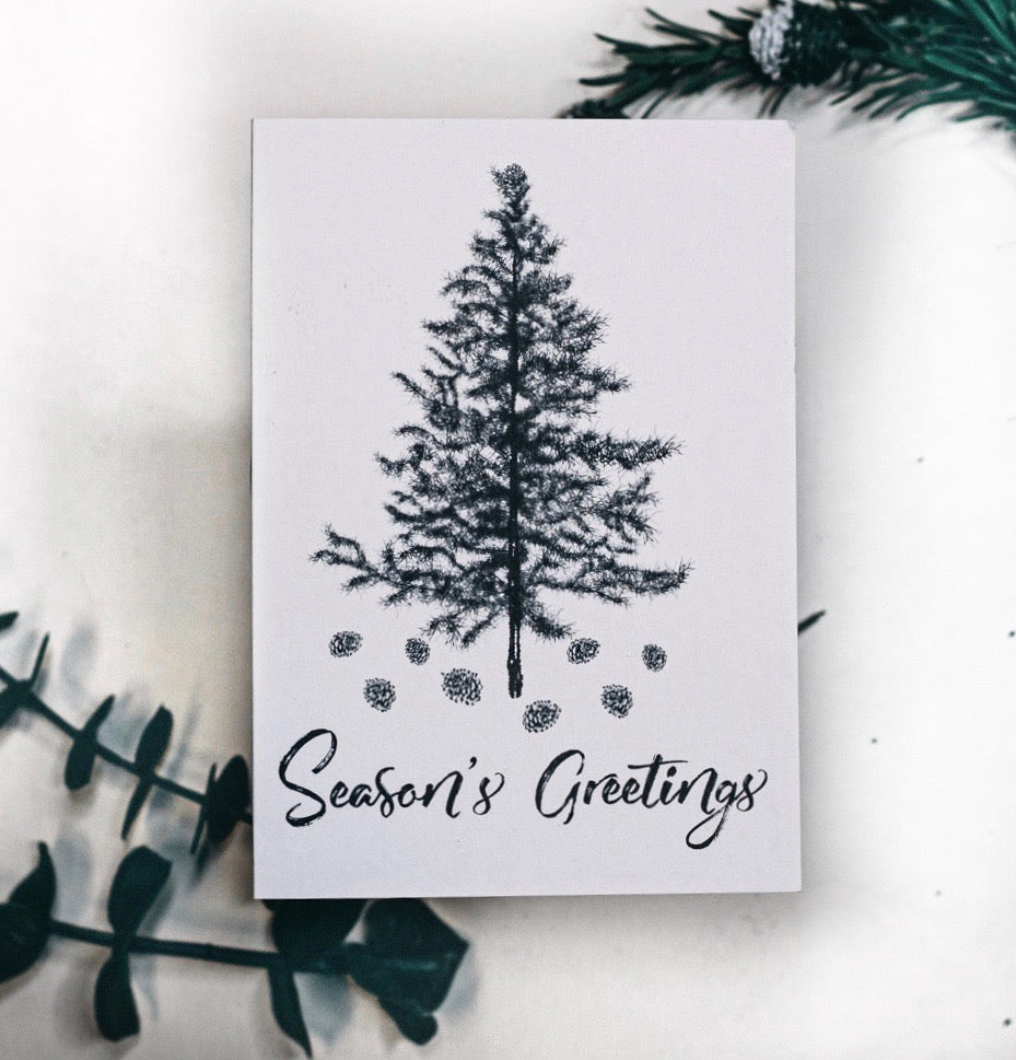 Hand Drawn Christmas Tree Seasons Greetings Card