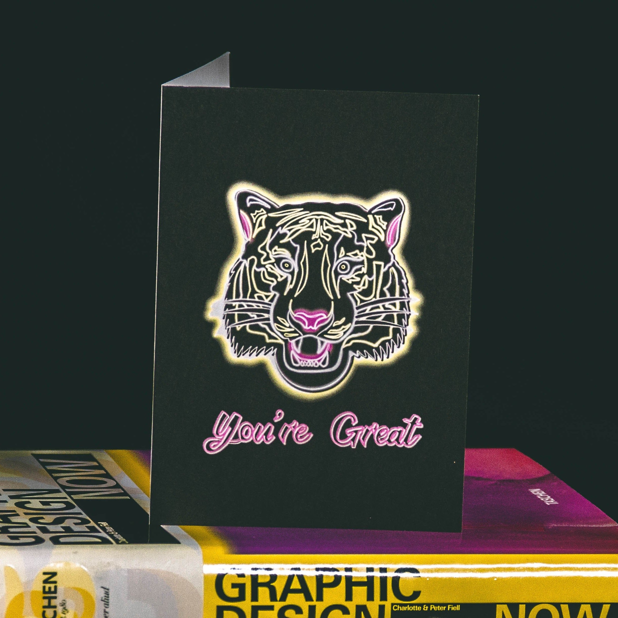 A6 Black Greetings Card With Yellow Tattoo Style Tiger and You're Great text by Wayward