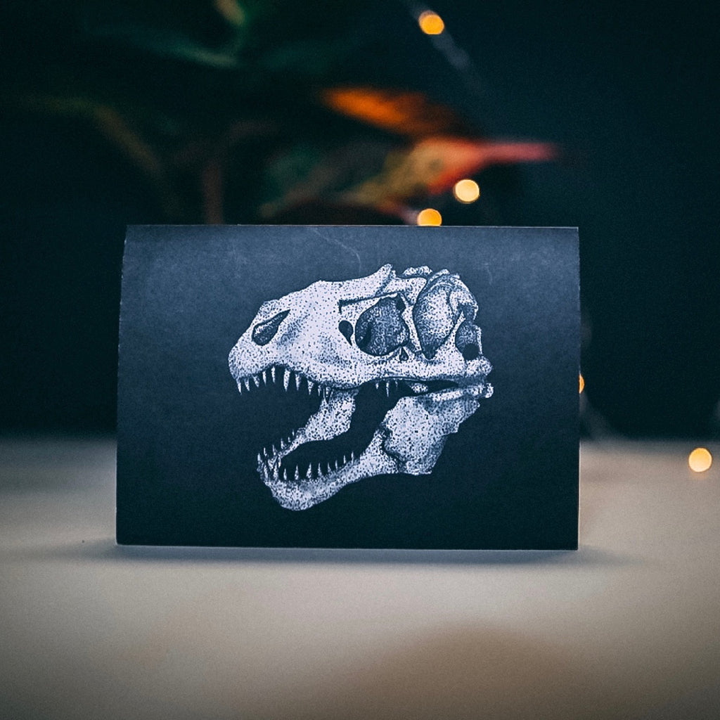 T-Rex Dinosaur Skull Greetings Card