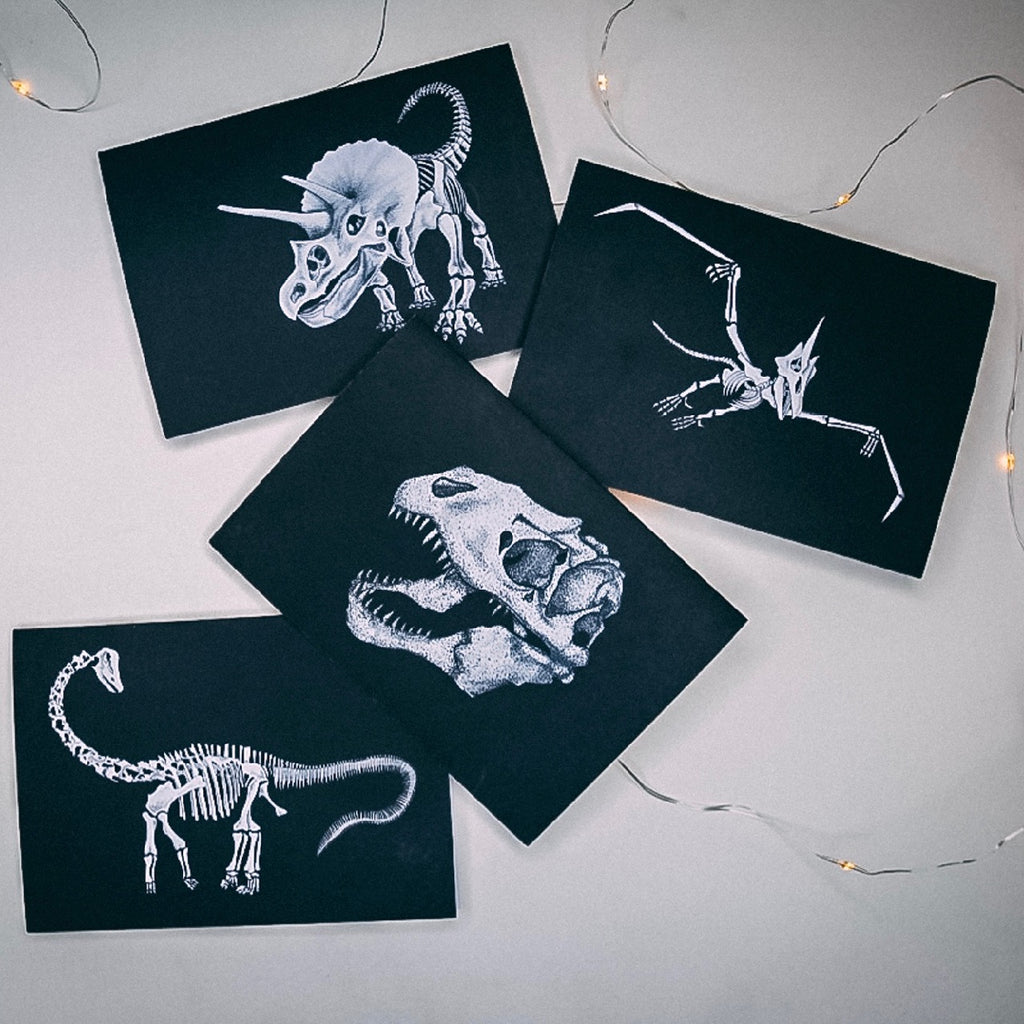 Set of 4 -  Dinosaur Skeleton Greetings Card