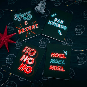 Neon Noel Set of 8 Cards