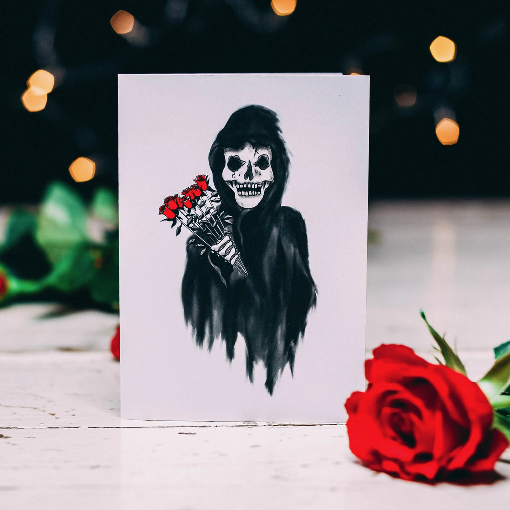 Reaper with Roses  Alternative Valentines Card